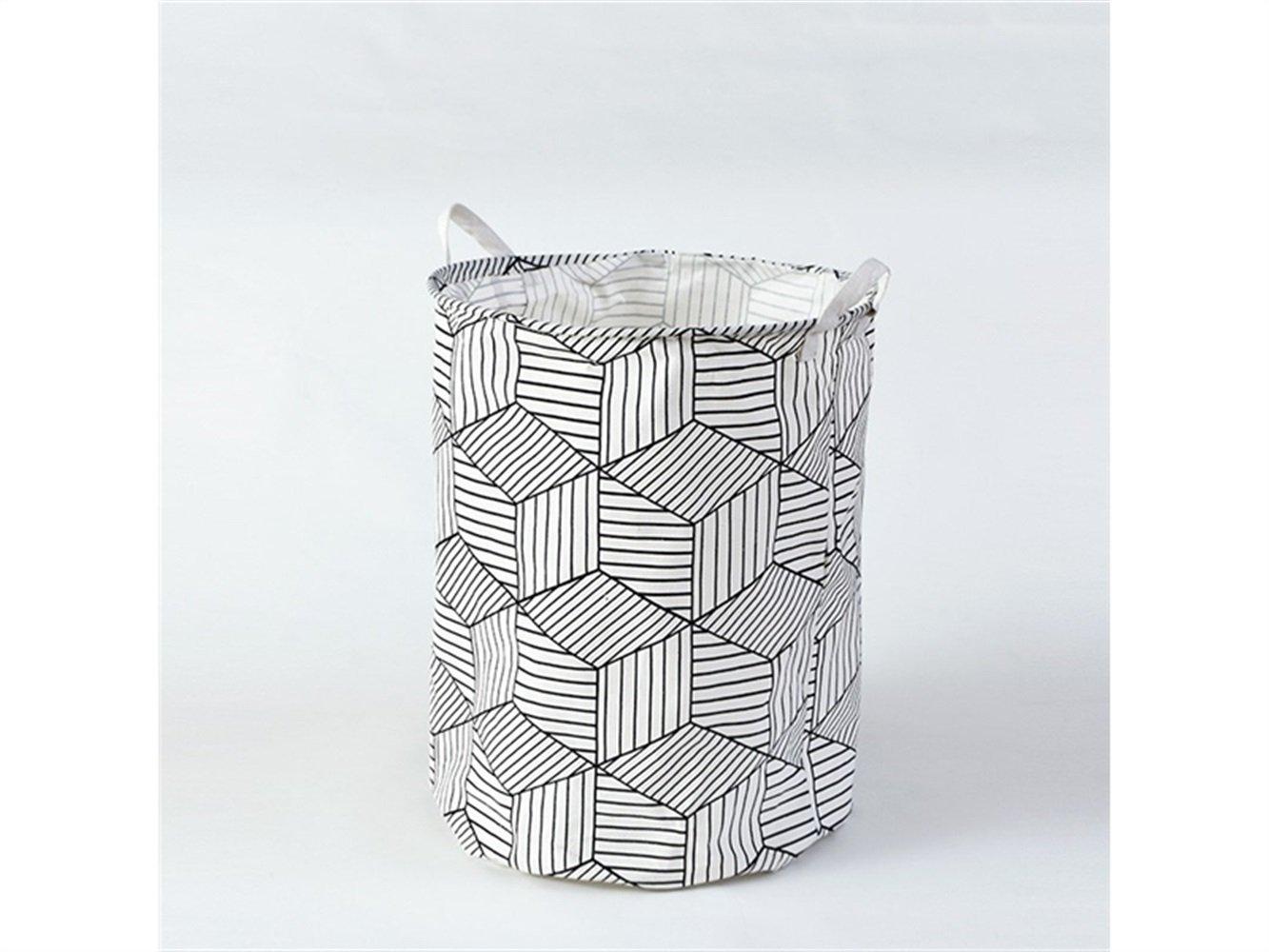 Gelaiken Lightweight Cube Pattern Storage Box Laundry Basket Cotton and Linen Storage Box (White)