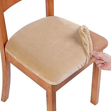 terciopelo Funda de asiento de terciopelo suave para silla de comedor lavable funda protectora para sillas el/ástica Homaxy beige 4 unidades
