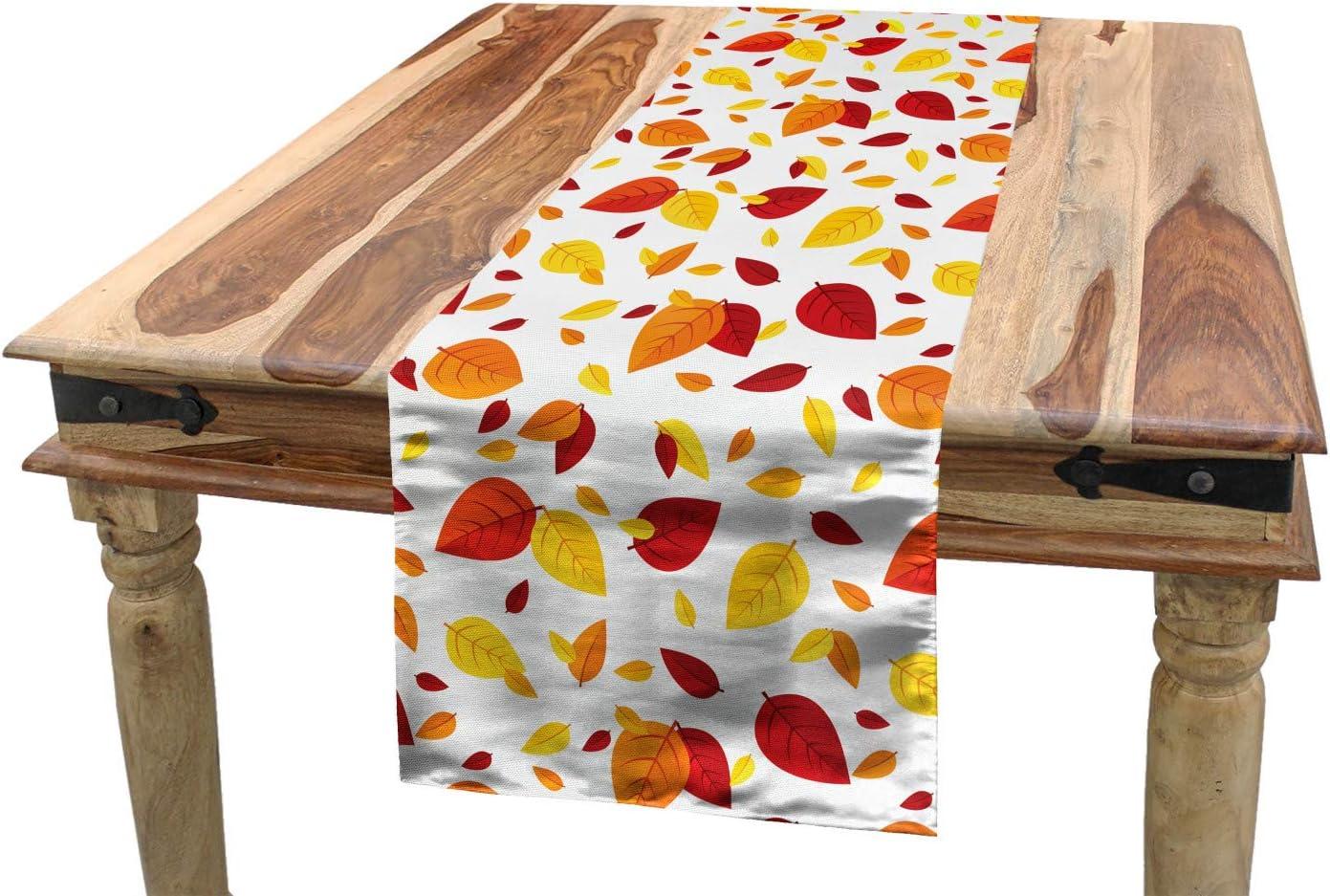 40 x 180 cm Esszimmer K/üche Rechteckiger Dekorativer Tischl/äufer Herbst Ahornbl/ätter ABAKUHAUS Orange Tischl/äufer Dunkelorange