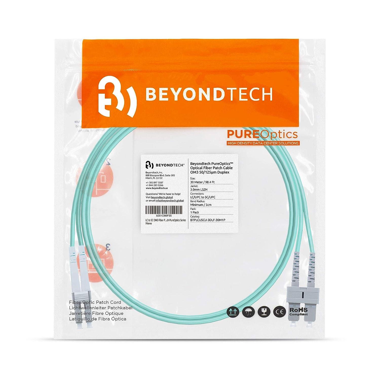 LSZH 2 Pack LC to SC OM3 Fibre Patch Cable Multimode - Beyondtech PureOptics Lead Series 50//125 10G Duplex 5M