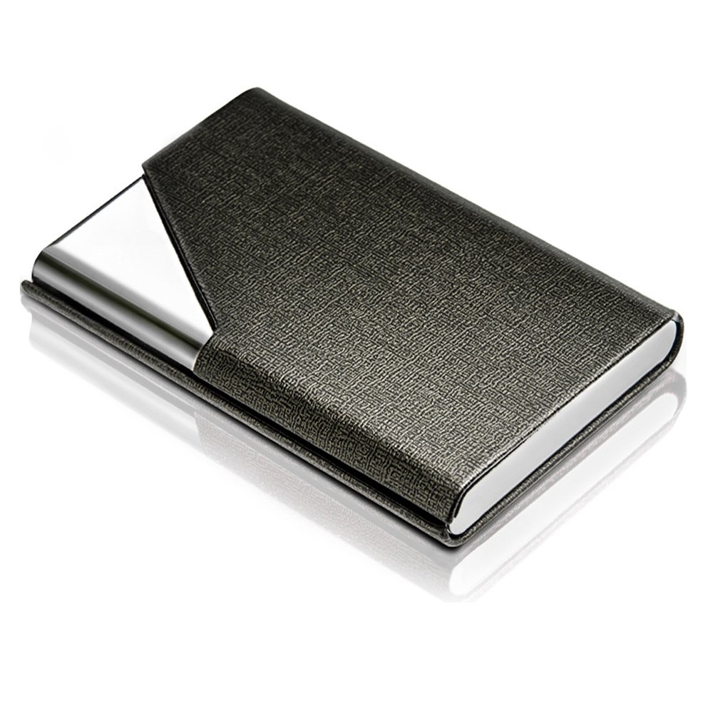 DMFLY Professional Business Card Holder Business Card Case Luxury PU Leather & Stainless Steel Card Holder Keep Business Cards Safe and Clean