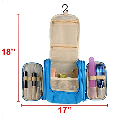 Amazon.com: Maquillaje cosmético del recorrido eDealMax neceser Lavar la caja de almacenaje del organizador bolso colgante Azul: Health & Personal Care