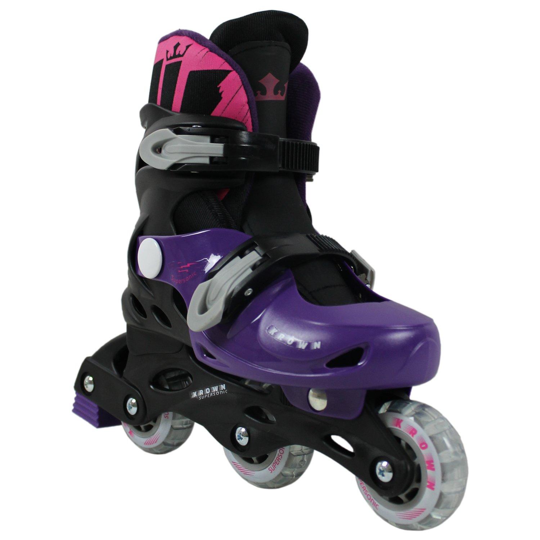 Krown Kids Adjustable Inline Skates, Black/Pink, Small