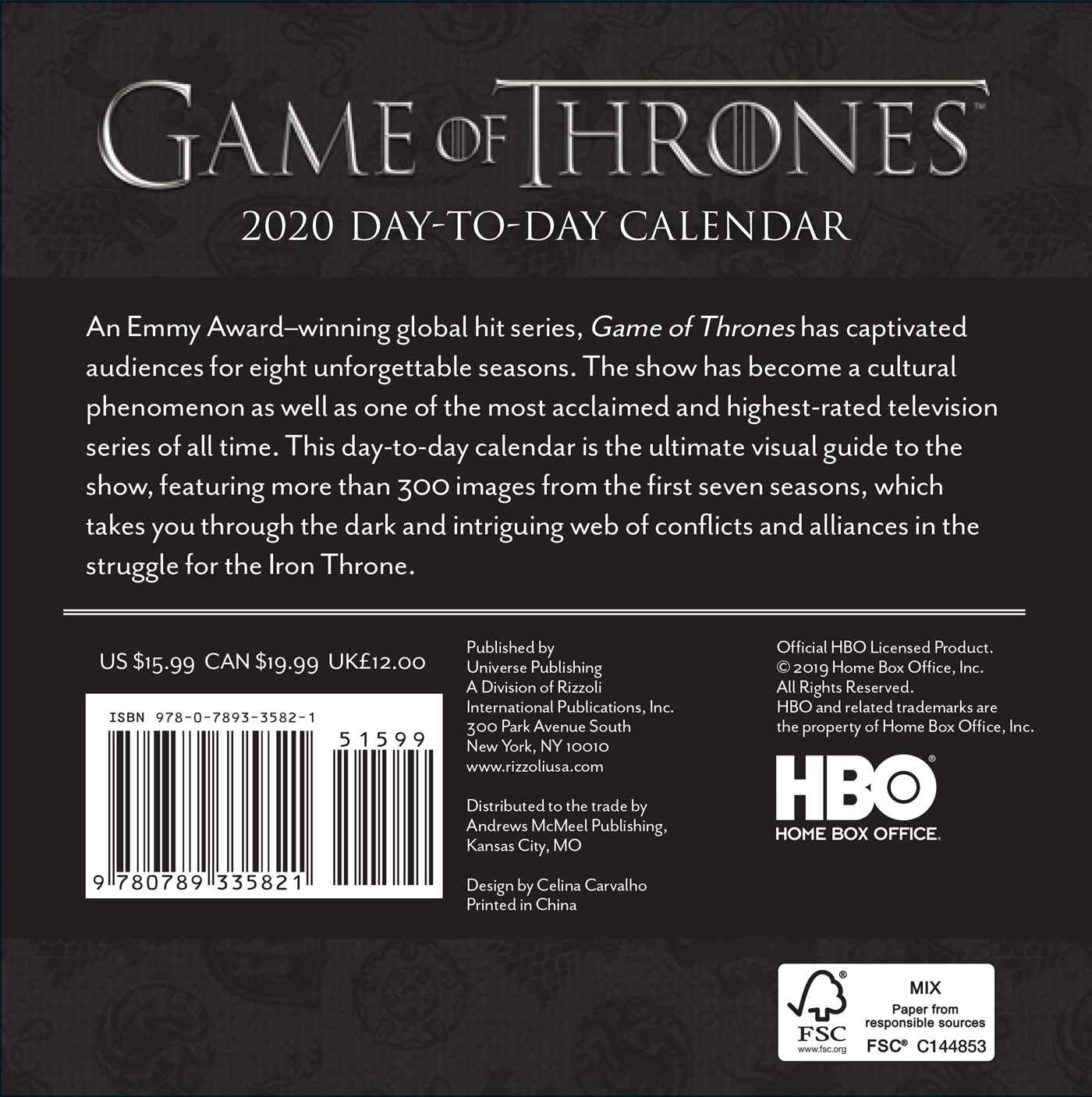 Hbo: Game of Thrones 2020 Day-to-Day Calendar: Amazon.es: Hbo ...