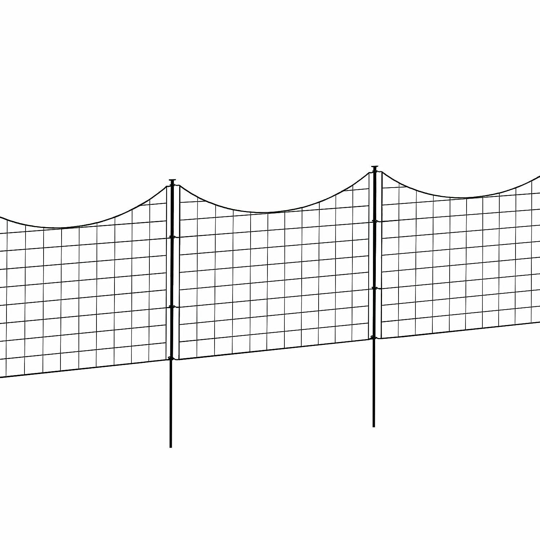 """WamBam Fence WF29001 Garden Metal Fence, 147.5"""" x 25"""", Black"""