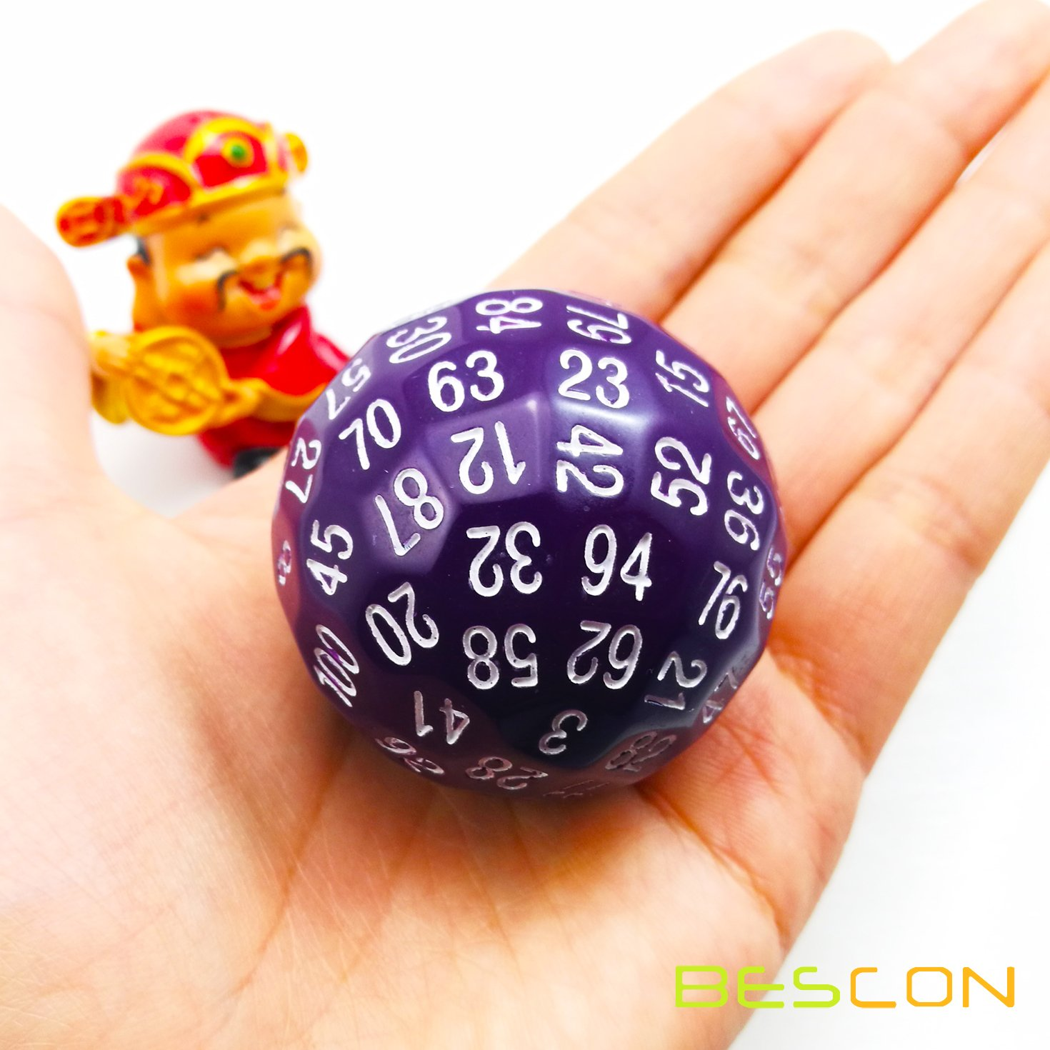 Bescon Polyhedral Dice 100 Sides Dice 100-Sided Cube of Purple Color D100 Game Dice D100 die 100 Sided Cube