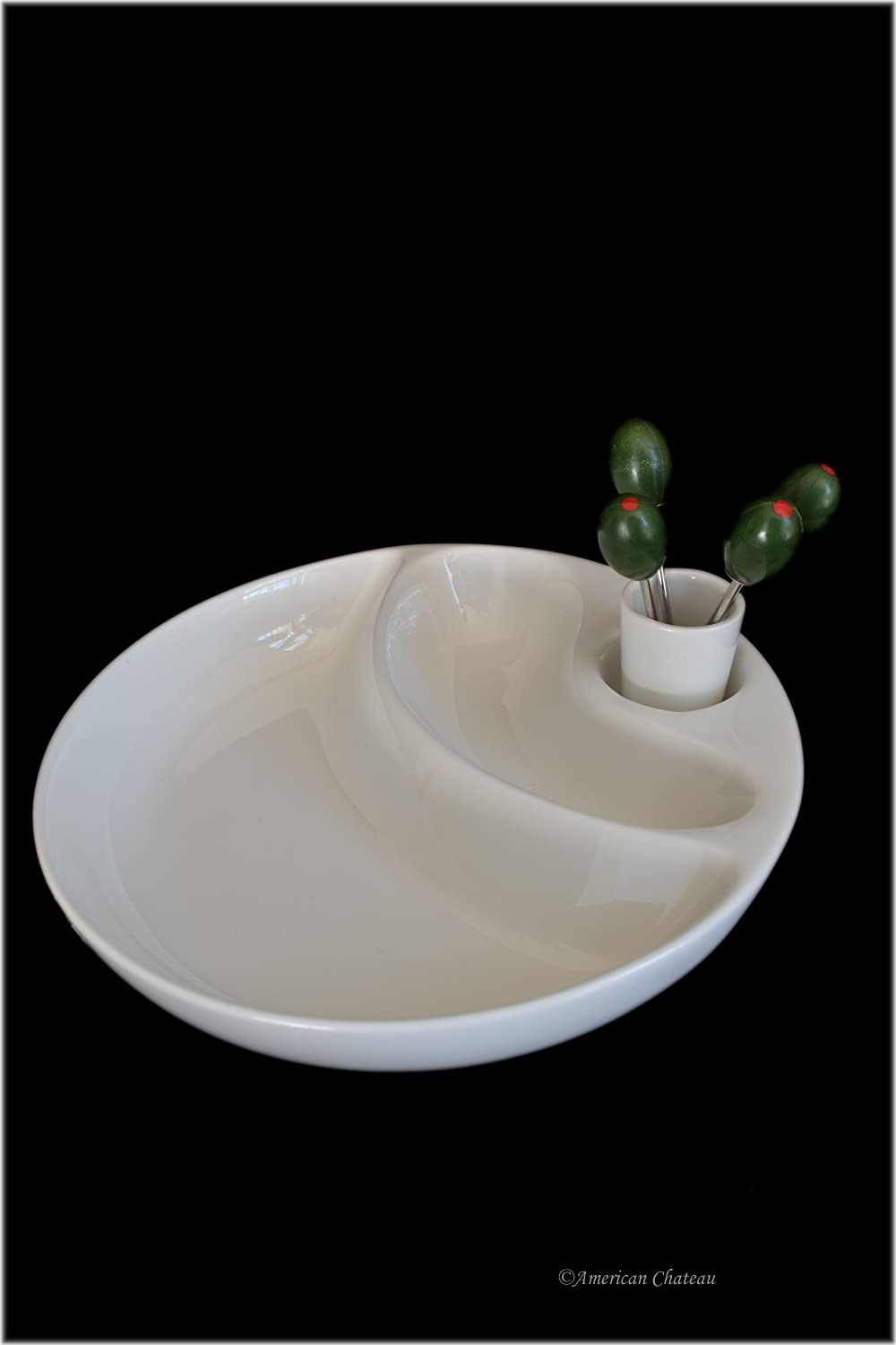 White Porcelain Round 2 -Section Olive Dish Boat Dish With Picks - Gift Boxed American Chateau