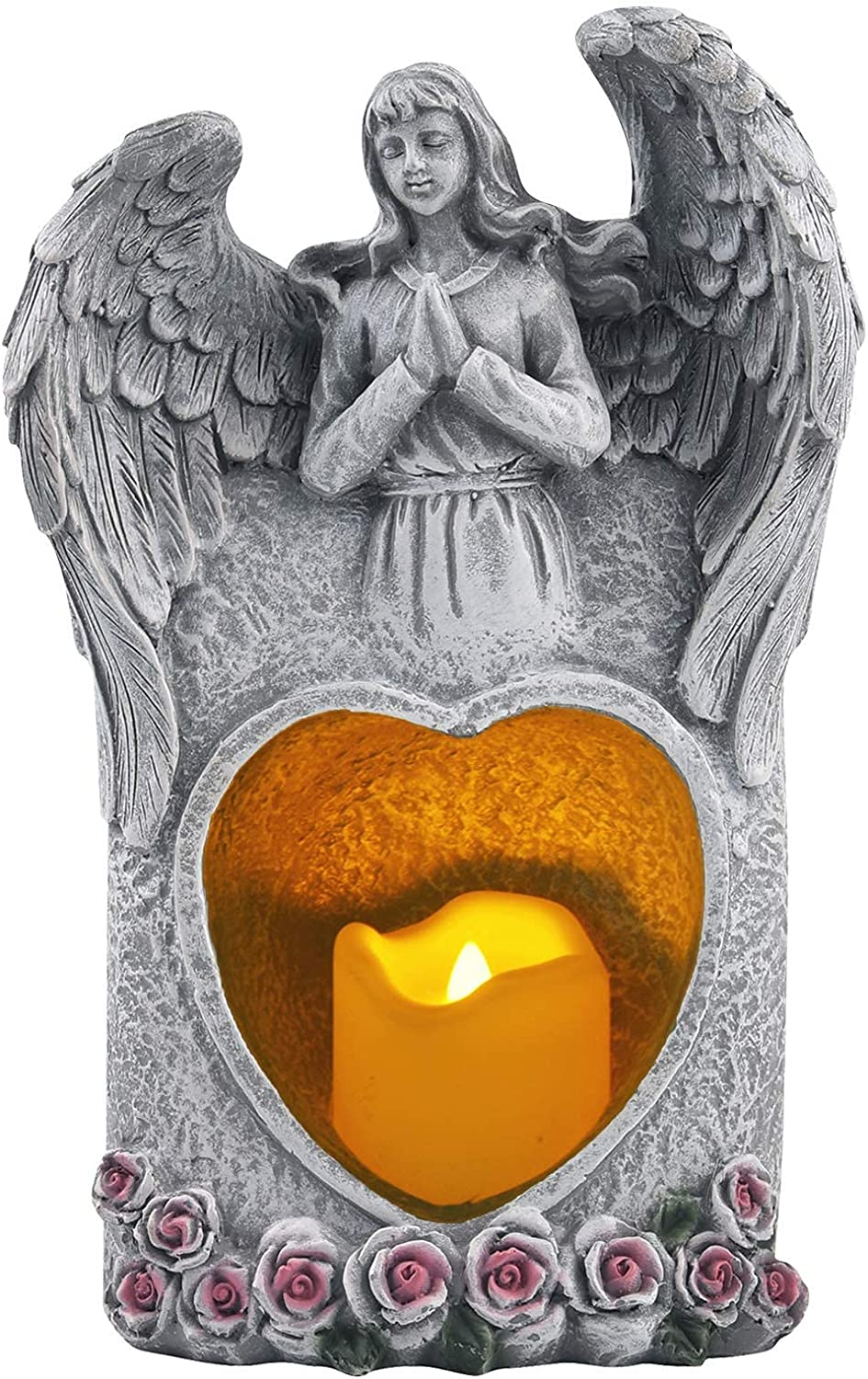 Praying Angel Memorial Gift, Solar Powered Sympathy Bereavement Gifts with Flickering Flameless Candle, Garden Guardian Angel Statue for Outdoor Patio in Memory of Loved One
