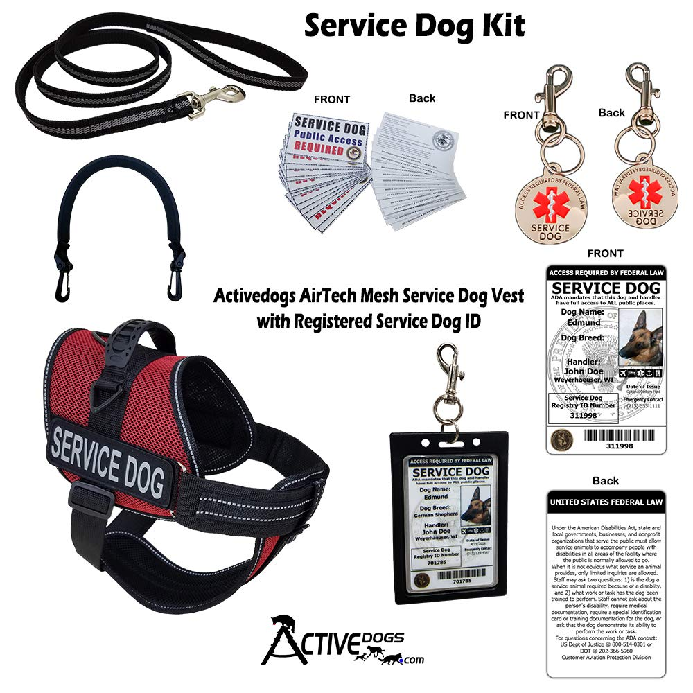 Activedogs Service Dog Kit Air-Tech Mesh Service Dog Vest Harness + Free Registered Service Dog ID + Clip-on Bridge Handle + ADA/Federal Law Cards + Service Dog Travel Tag