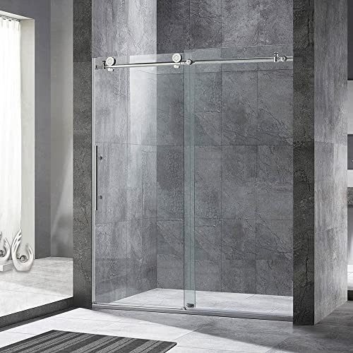 WOODBRIDGE MBSDC6076 MBSDC6076-B Frameless Sliding Shower Door, C-Series 60 W x 76 H Brushed Nickel
