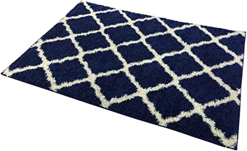 Moroccan Trellis Shag Area Rug Rugs New Shaggy Collection Navy Blue