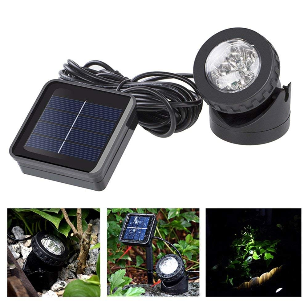 Hansuo Solar LED Landscape Spotlight,IP68 Underwater Submersible Lamp,Adjustable Wall Light,Auto On/Off for Outdoor Garden Courtyard Lawn Fish Tank Pool