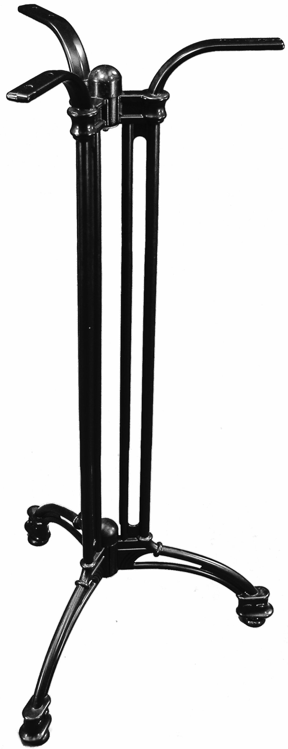 ATC Andalusia Black Cast Aluminum 3-Leg Table Base, Bar Height, 30'' L x 30'' W x 42'' H