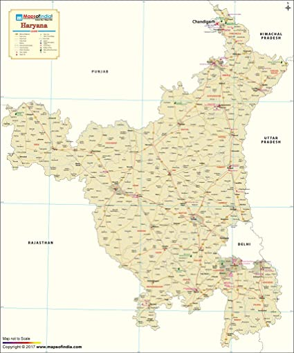 Haryana India Map.Haryana Map 48 W X 57 7 H Vinyl Print Amazon In Office Products