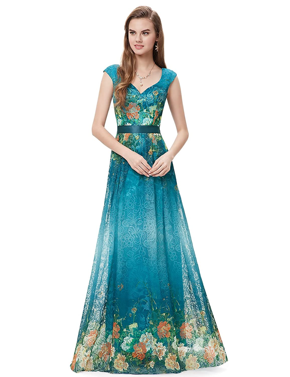 Amazon.com: Ever Pretty Floor Length Floral Printed Lace Evening ...