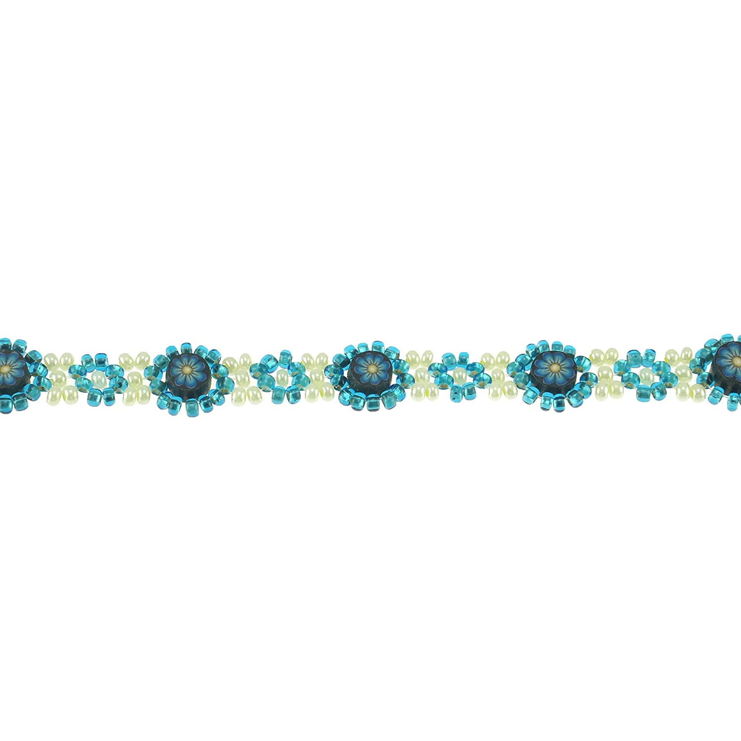 on Turquoise Blue /& Ivory Seed Beads Anklet Daisy Flower Design BlueRica Fimo Discs