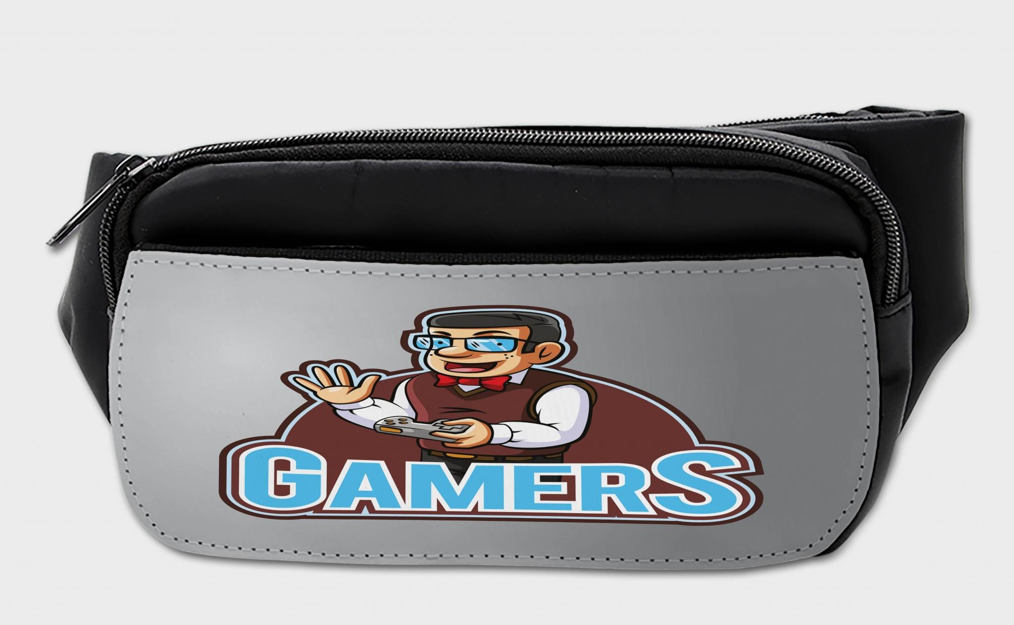 Lunarable Gamer Bumbag, Nerd Guy with Bowtie Glasses, Fanny Pack Hip Waist Bag