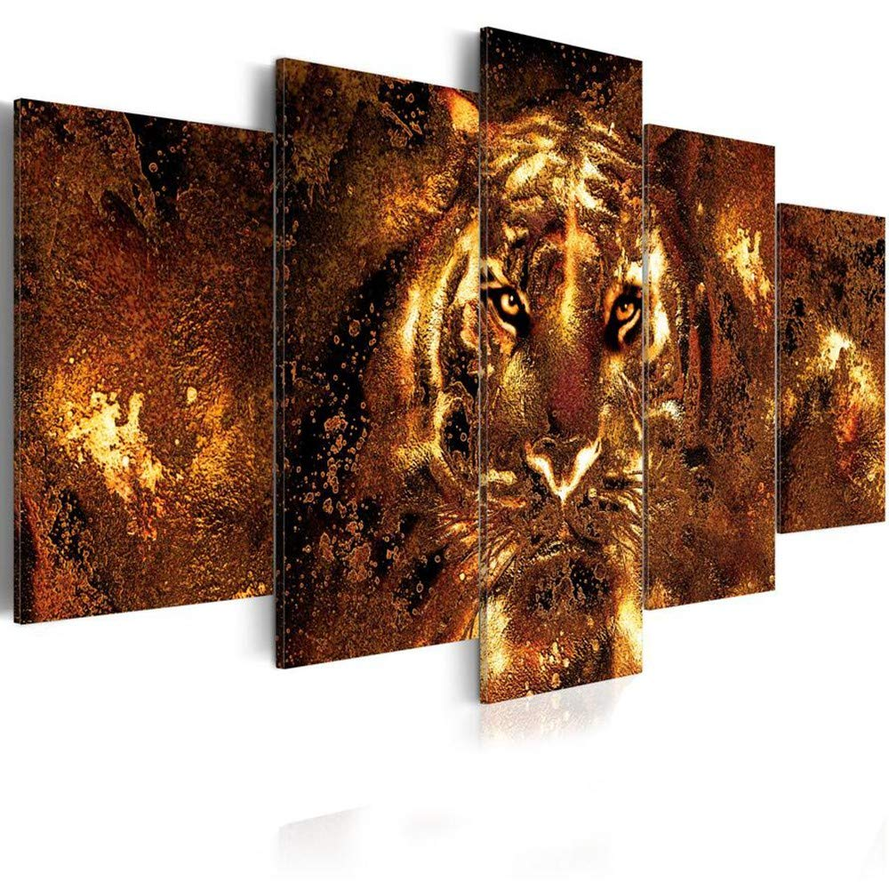 DYDONGWL de Multi Panel 5 Unids/Set Animal Moda Arte de DYDONGWL la Pared Pintura de la Lona Tigre Moderno Decoración del Hogar, 20X30cmX2 20X40cmX2 20X50cm 4f07fb