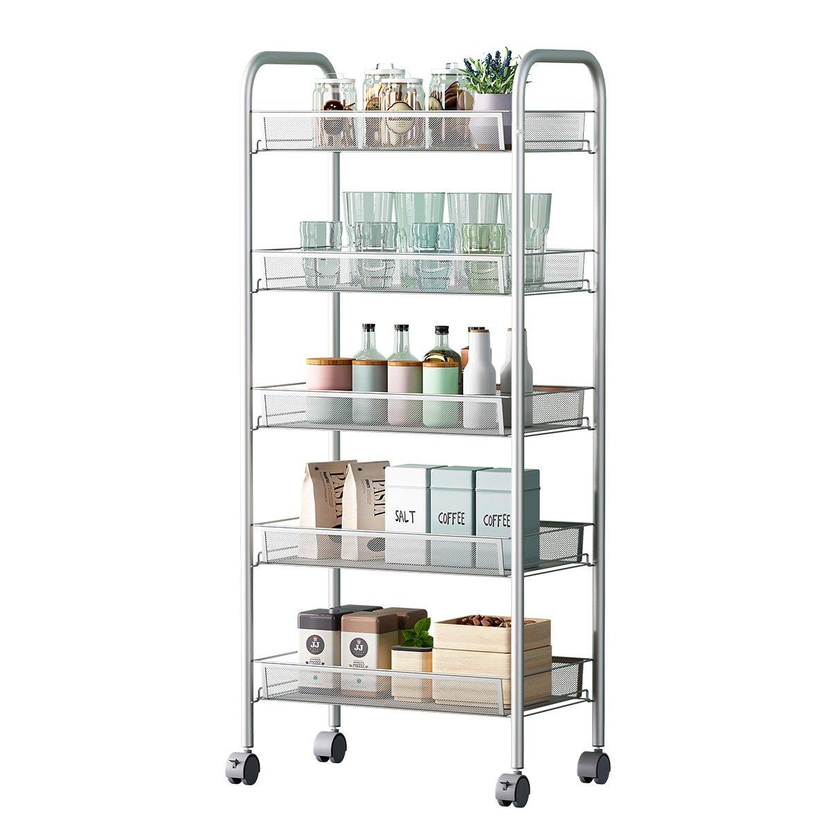 5-Shelf D25.8cm W44.5cm H103cm Silver Steel Storage Rack Basket Shelving Unit Trolley Cabinet Kitchen Island with Caster Wheels WJM46104-5SL
