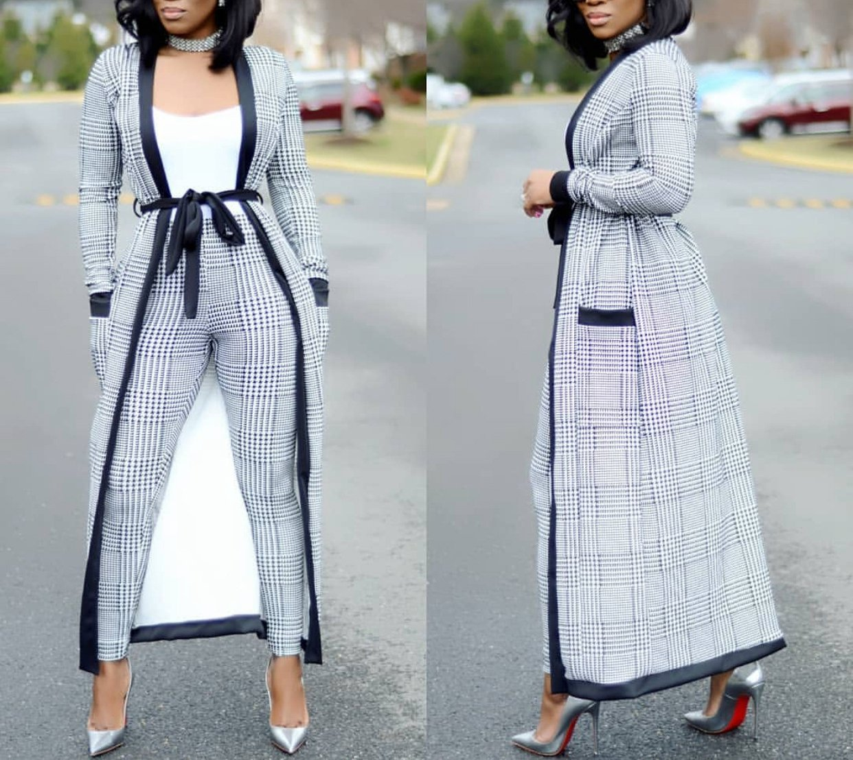 VERWIN Long Sleeve Plaid Tops and High Waist Skinny Pants Houndstooth Blazer Outfit 3 Sets XL by VERWIN (Image #2)