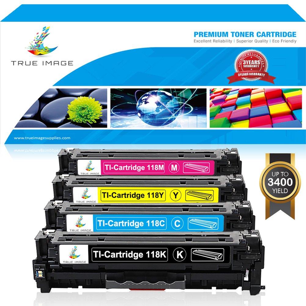 TRUE IMAGE 4Pack Compatible Replacement for Toner Canon 118 CRG118 Canon Imageclass MF726CDW MF8580CDW MF8500C MF8350CDN MF8380CDW LBP7660CDN MF8580CDW MF720C Printer (Black, Cyan, Magenta, Yellow)