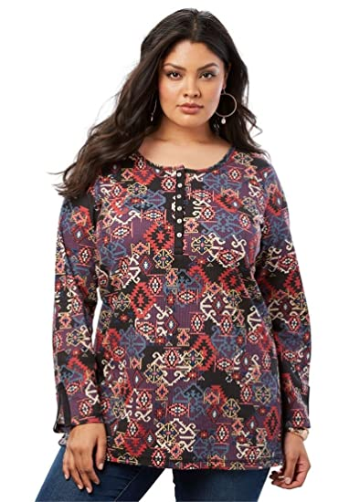 96763c9a3c1 Roamans Women s Plus Size Thermal Henley Tunic at Amazon Women s Clothing  store