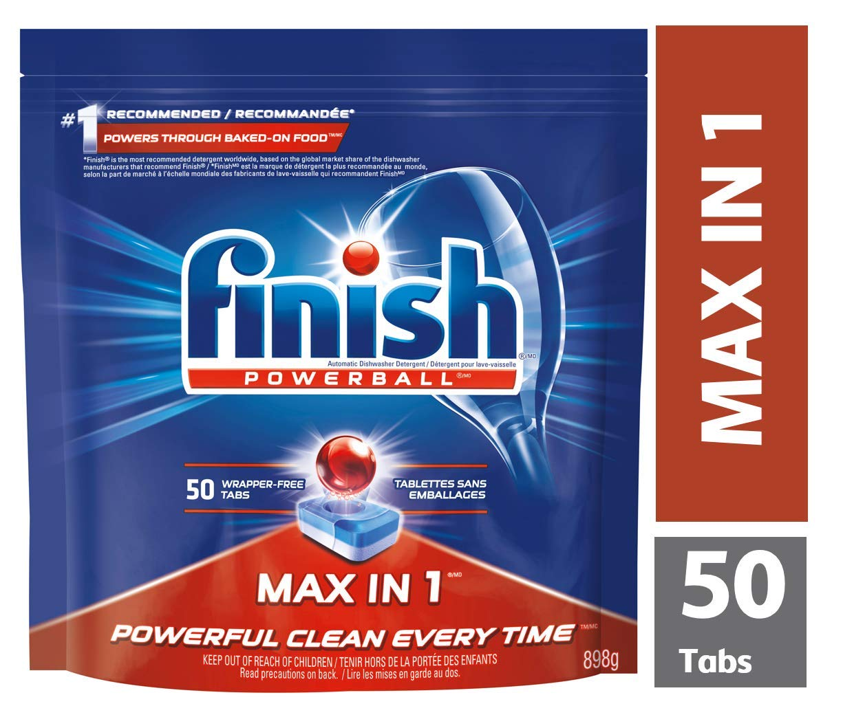 Finish Dishwasher Detergent, Max in 1 Powerball Super Charged, Power and Free, 50 Tablets, Less Harsh Chemicals