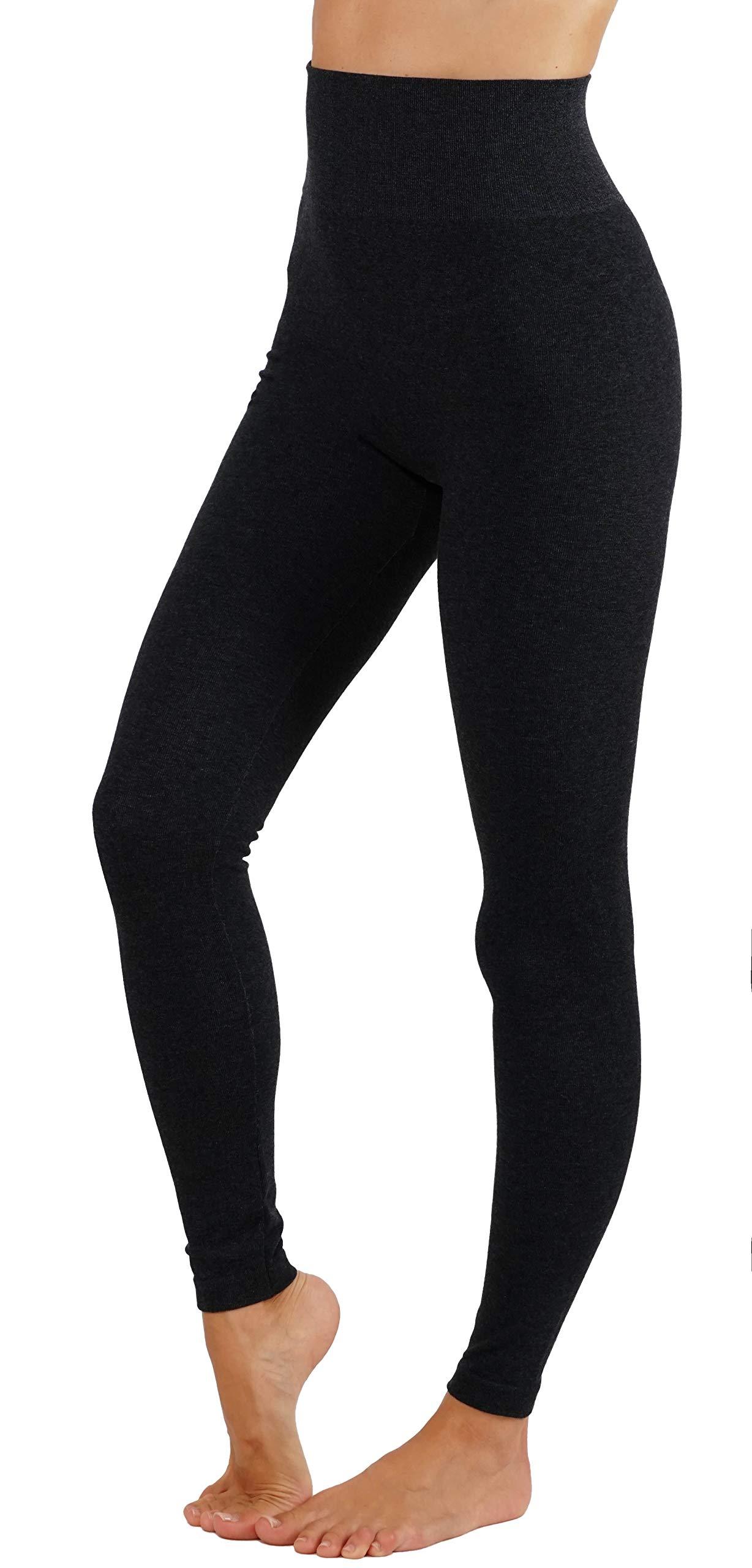 Women's Leggings Soft Basic Coton Blend Solid Color Yoga Pants Wide Waistband (L/XL us 8-12, YG010-BLK)
