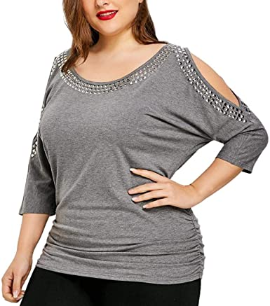Blusa De Mujer Moda 3/4 O Más Manga Cuello Rivet Off Hombro Tops Mode De Marca Tops Camisetas Blusas: Amazon.es: Ropa y accesorios