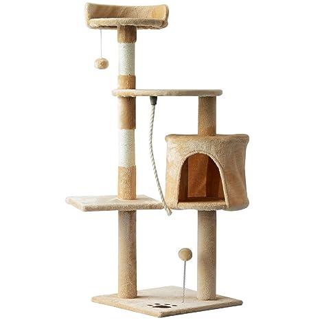 PawHut Árbol para Gatos Rascador Grande con Plataformas Casetas Bolas de Juego 114cm Cubierto de Felpa