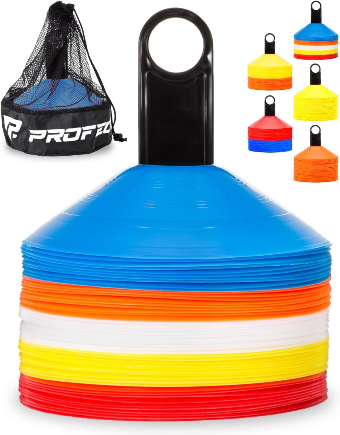 Pro Disc Cones (Set of 50) - Agility Soccer Cones with Carry Bag and Holder for Training, Football, Kids, Sports, Field Cone Markers - Includes Top 15 Drills eBook (Multi-Color) : Sports & Outdoors