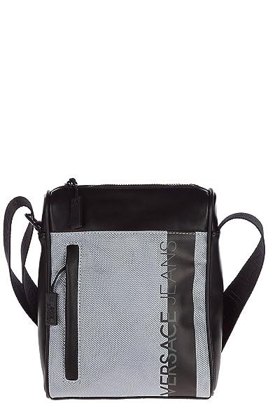 94aaf74c8ac2 Versace Jeans men s cross-body messenger shoulder bag macrologo silver