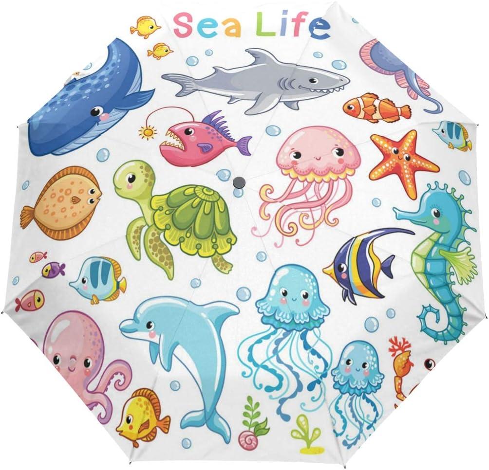 Seahorses Underwater Life fashion print cute Windproof automatic tri-fold umbrella sun UV protection Sun umbrella