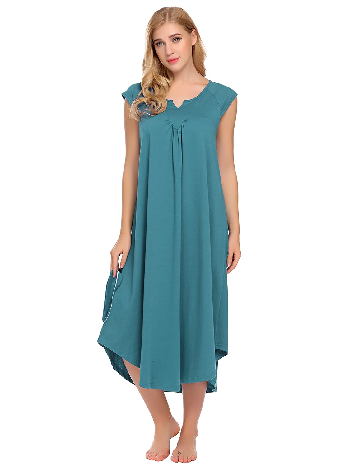 Peacock bluee Asatr Women's Nightgown Dress Long Cotton Nightdress Loose Cap Short Sleeve Sleepwear Maxi Dress SXXL
