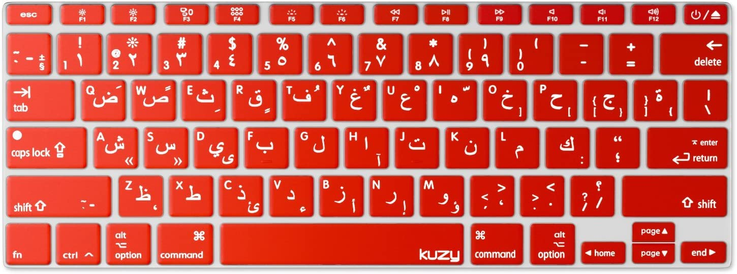 """Kuzy - Arabic Language Keyboard Cover for MacBook Pro 13"""" 15"""" 17"""" (with or w/Out Retina Display) Silicone Skin for iMac and MacBook Air 13"""" - Arabic/English - RED"""