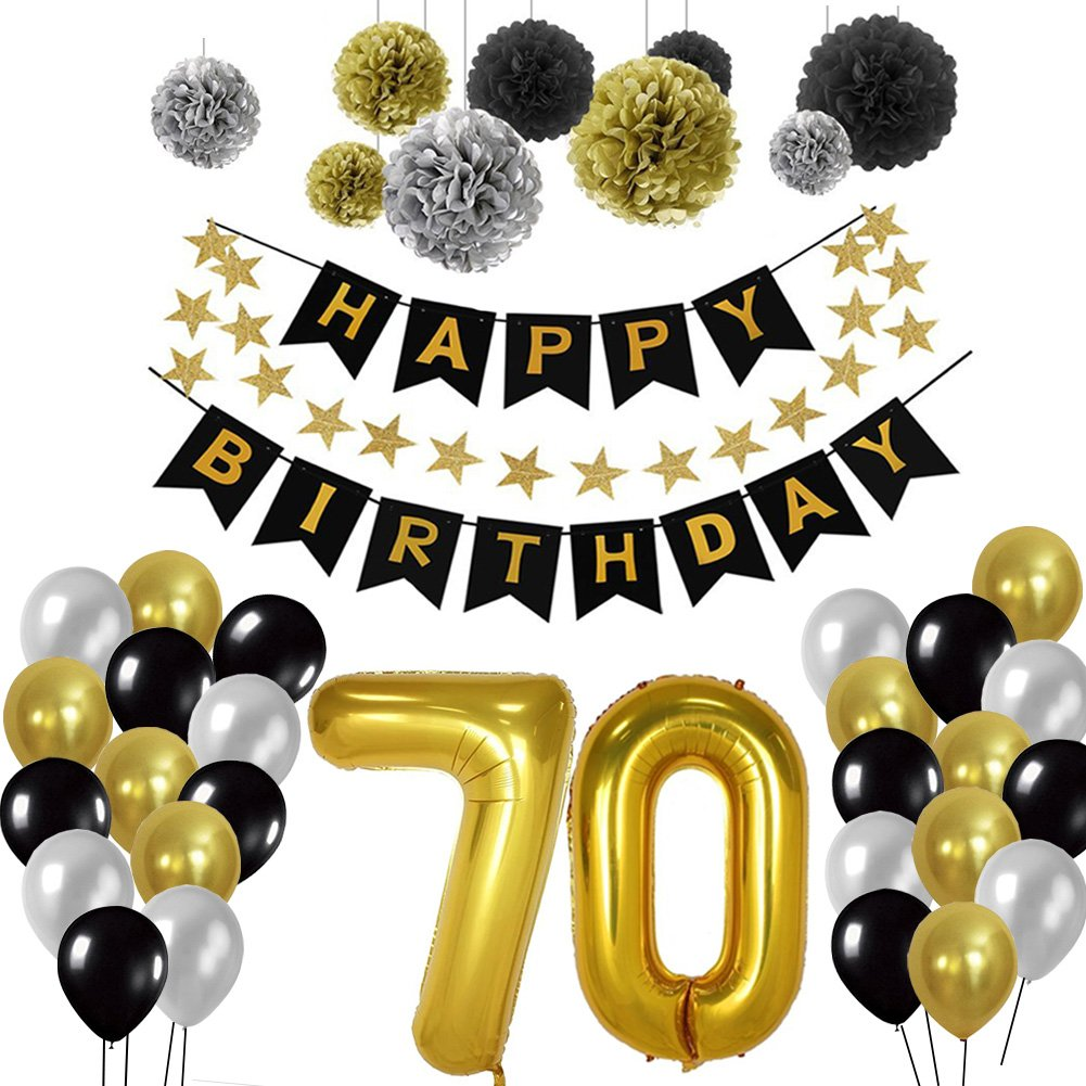 Toupons Birthday Decorations 70th, Birthday Party Supplies Sets Happy Birthday Banner Bunting for Birthday Party Decorations - Black, Gold and Silver (70th)