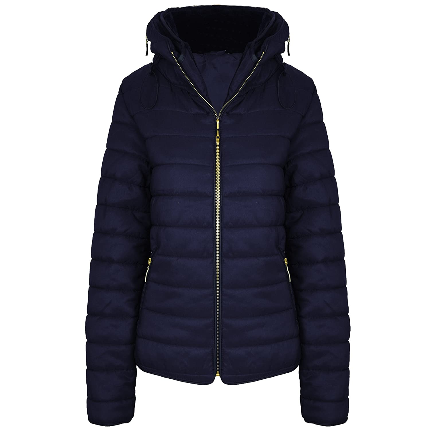 fa0750bbdc4 New New Ladies Womens Quilted Padded Puffer Bubble Fur Collar Warm Thick  Jacket Coat Top UK Size 8-14 (UK SIZE M/10, NAVY): Amazon.co.uk: Clothing
