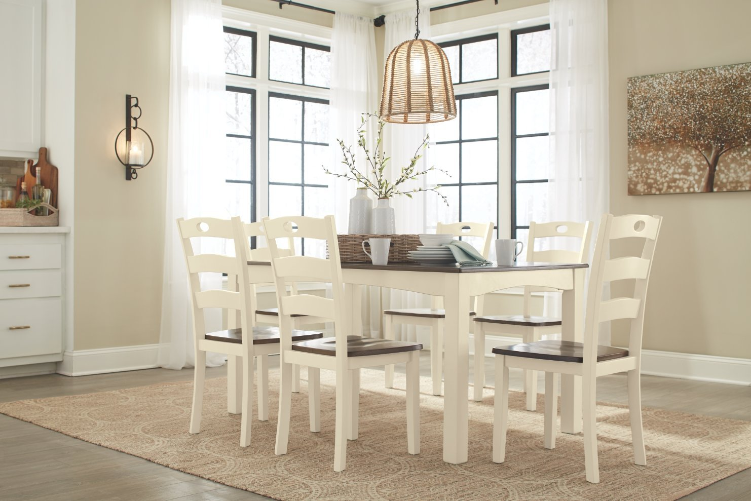 Amazon.com   Ashley Furniture Signature Design   Woodanville Dining Room  Table Set   Set Of 7   Dining Table And 6 Chairs   Casual   Cream/Brown  Finish ...