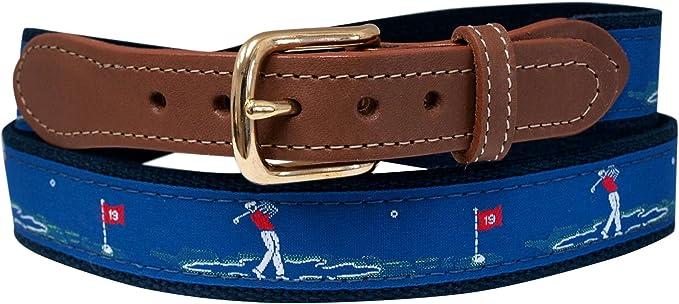 Golf Belt, Embroidered Golfer on Navy Web