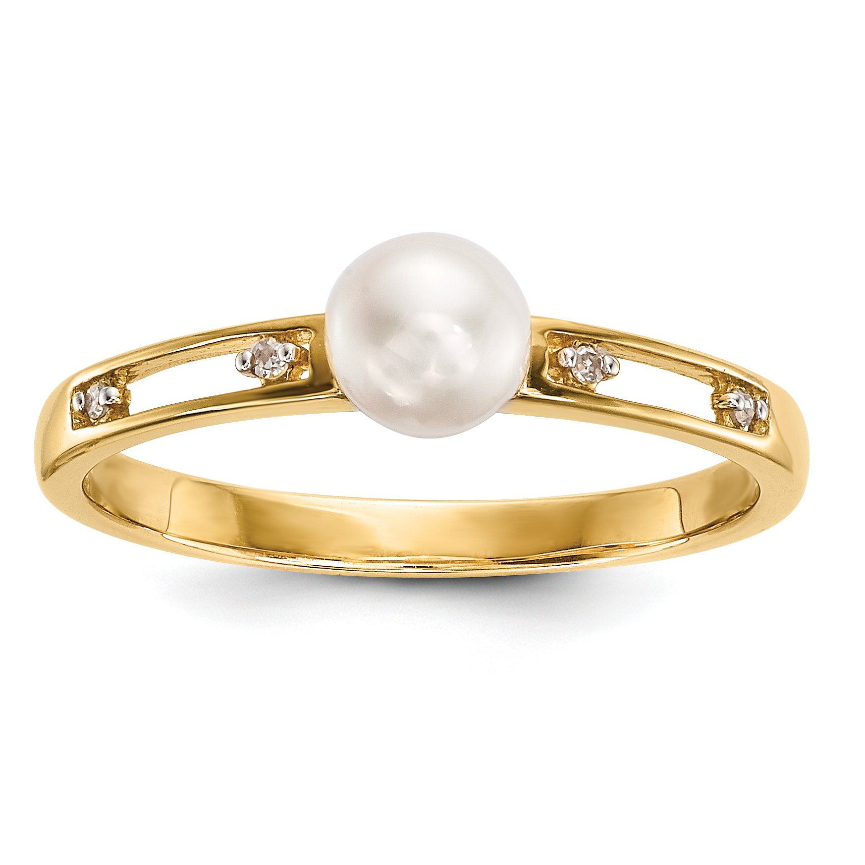 ICE CARATS 14k Yellow Gold Freshwater Cultured Pearl Diamond Band Ring Size 7.00 Fine Jewelry Gift Set For Women Heart
