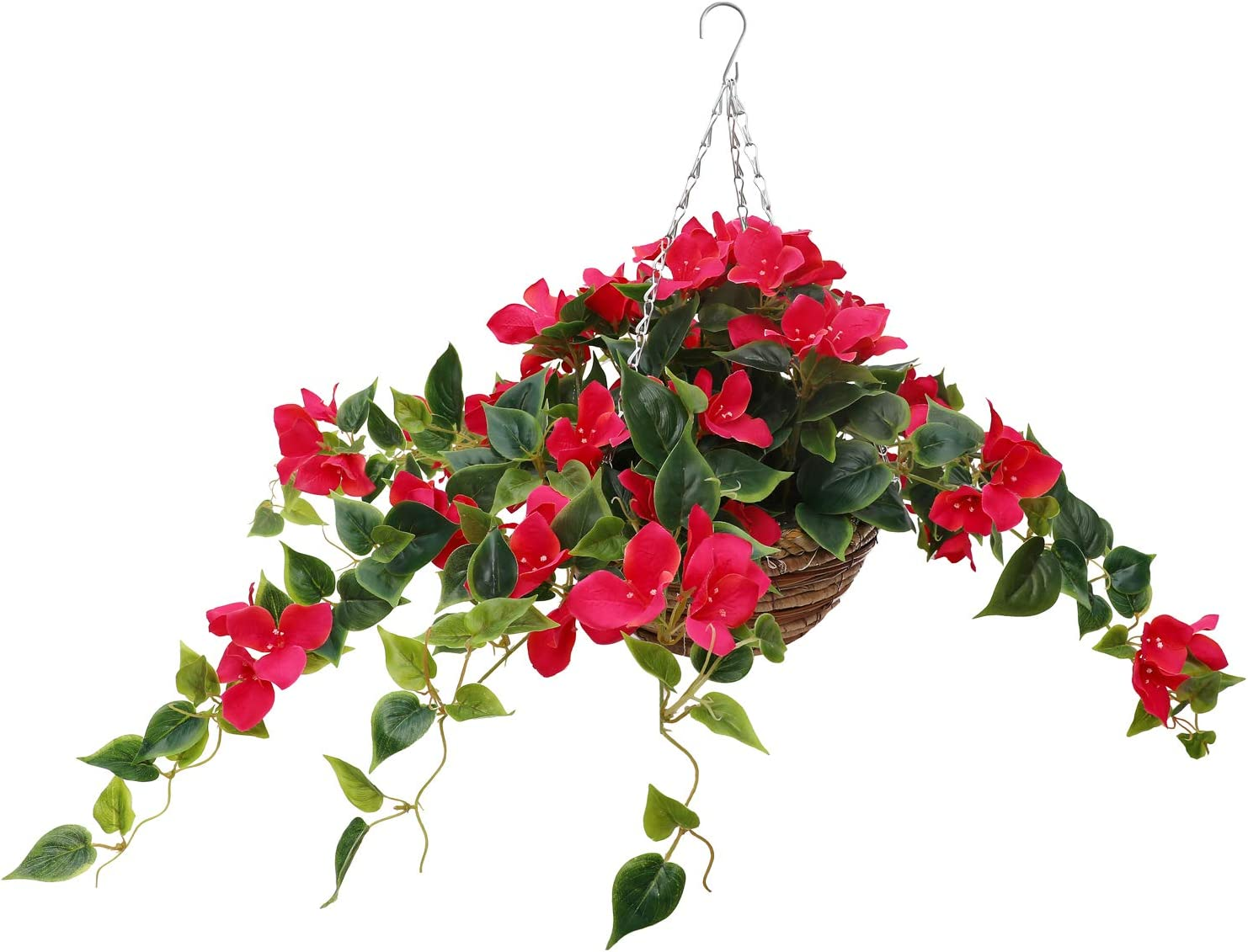 by Ricardo Hanging Planter Basket Filled with Artificial Bougainvillea Silk Flowers, Natural Looking Outdoor and Indoor Hanging Planters for Garden, Home and Patio Floral Decor, Hardware Included.