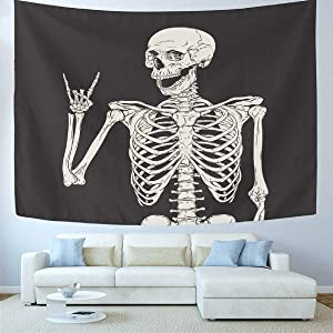 Wamika Rock and Roll Skull Home Decor Tapestries Wall Art Funny Skeleton Tapestry Wall Hanging Boho Hippie Bohemian Tapestry for Dorm Living Room Bedroom Black and White 51 X 59 Inches