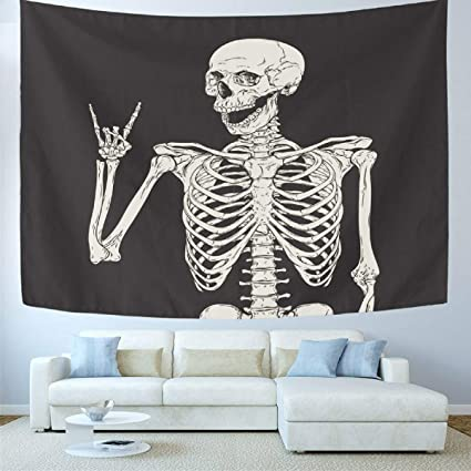 Amazon Com Wamika Rock And Roll Skull Home Decor Tapestries Wall