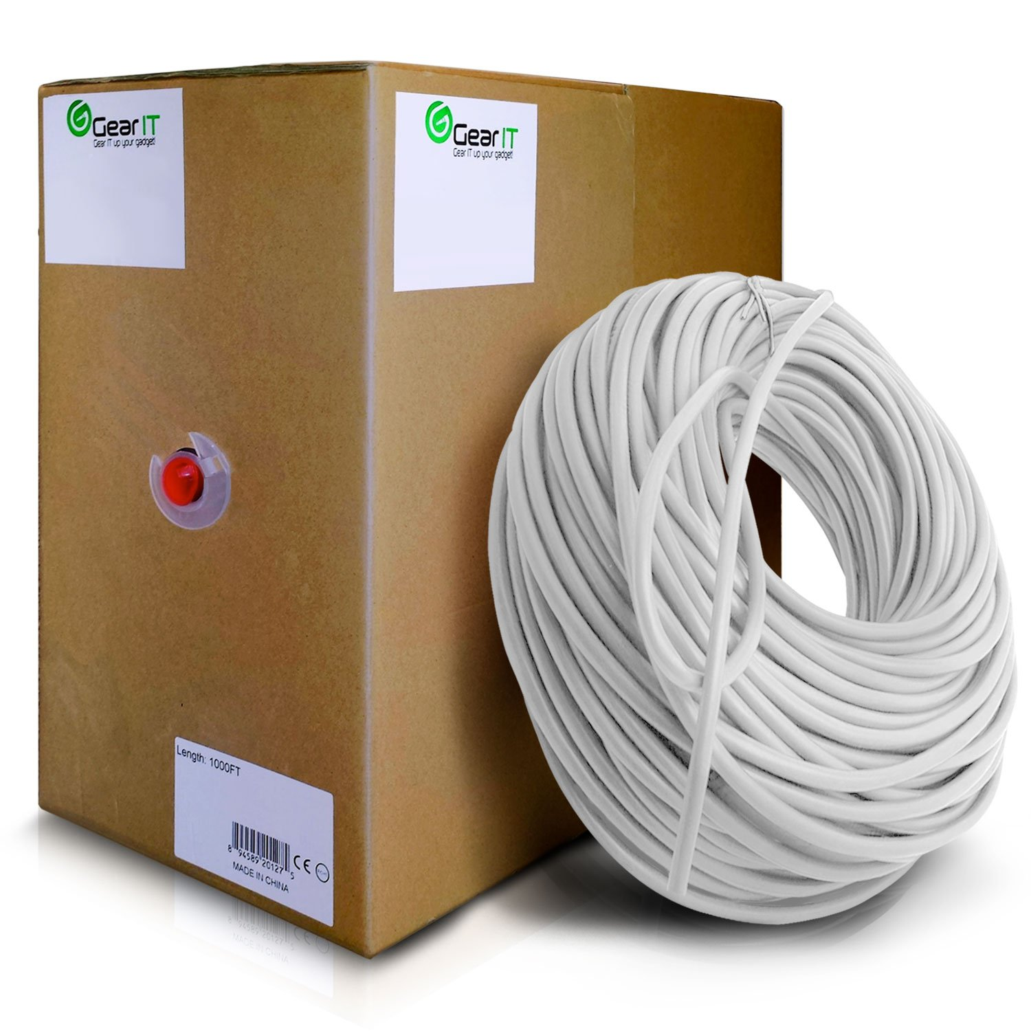 GearIT 1000 Feet Bulk Cat6 Ethernet Cable - Cat 6e 550Mhz 24AWG Full Copper Wire UTP Pull Box - In-Wall Rated (CM) Stranded Cat6, White by GearIT