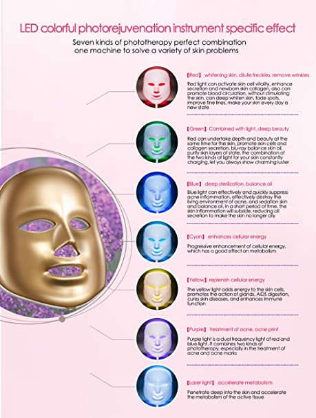 Amazon Com Led Mask Therapy Multiple Color Led Light Photon Rejuvenation Therapy Facial Skin Care Beauty Mask 7color Light Gold Beauty
