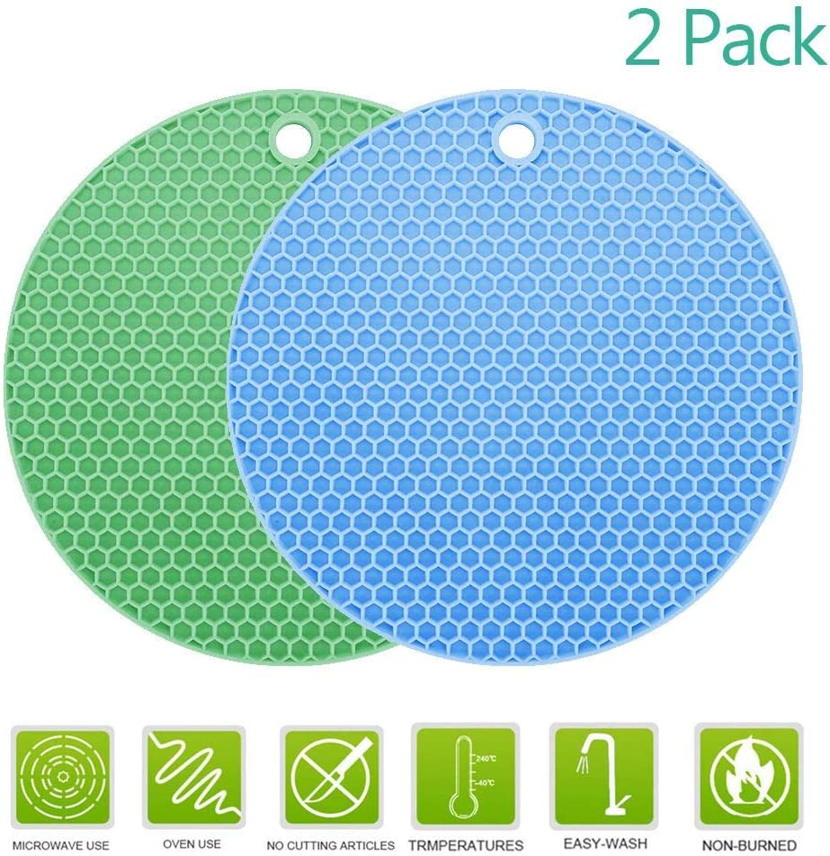 Disino Multipurpose Extra Thick Silicone Round Heat Resistant Trivet Mats Kitchen Pot Holders, Place Mats,Honeycomb Coasters, Nonslip Jar Openers, Oven Mitts for Cooking & Baking (2 Pack)