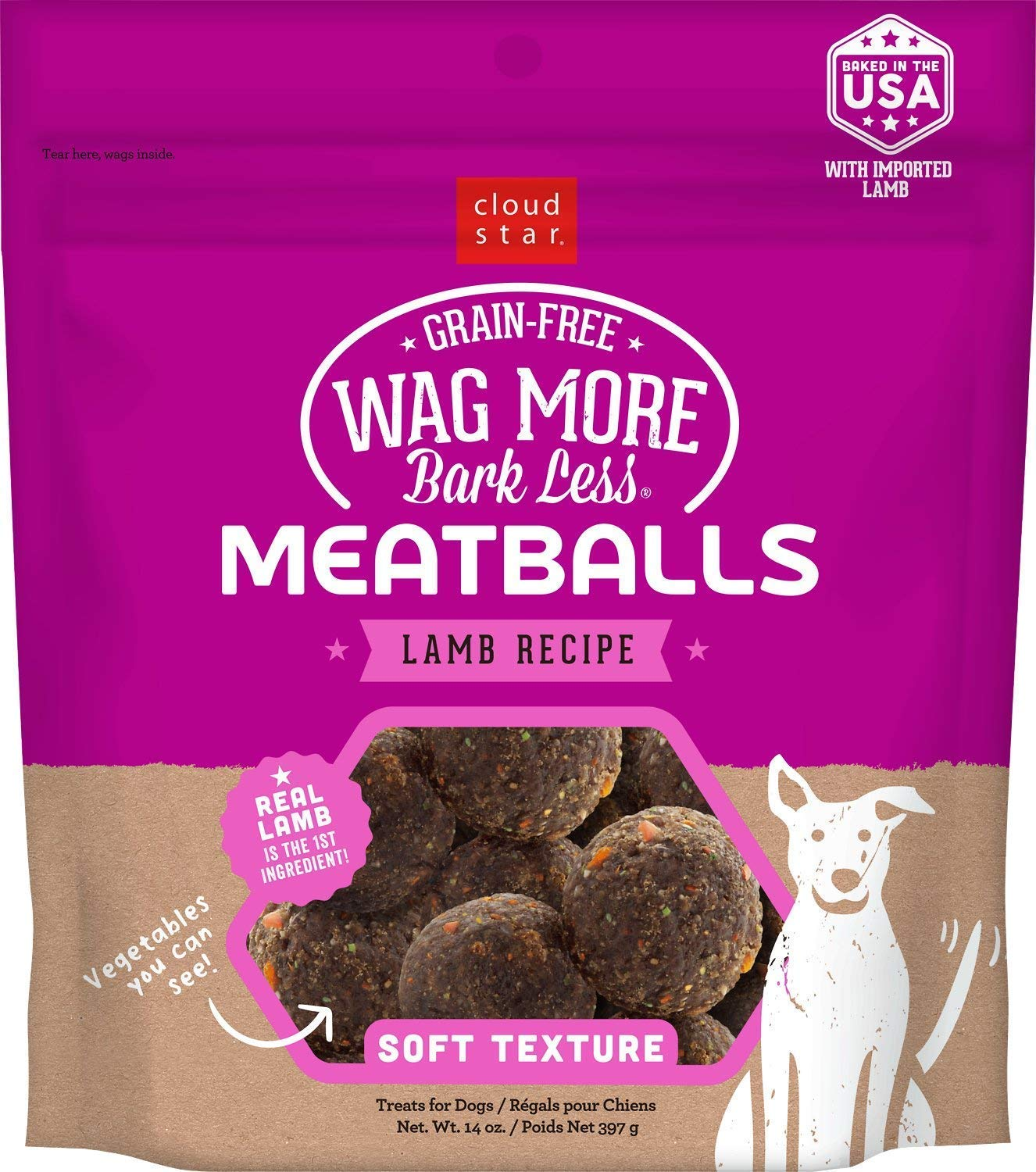 Cloud Star Wag More Bark Less Grain Free Meatballs Lamb Recipe 14 oz. by Cloud Star