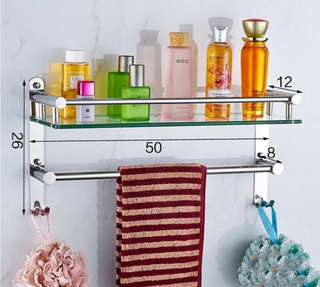 YAOHAOHAO Bathroom shelves shelving bath rooms in glass, 304 stainless steel towel rails, bath rooms, glass shelving to the wall (Color 350 cm).