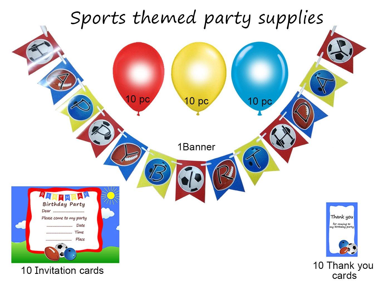 Easycraftz Sports Theme Boys Birthday Banner + Invitation +Thank You ...