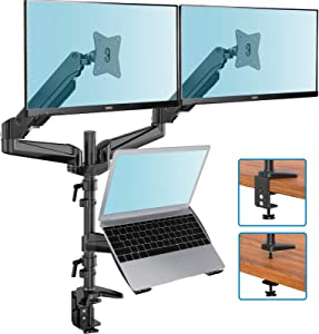 Dual Monitor Stand - Gas Spring Monitor Mount with Laptop Tray Fit Two 13 to 27 Inch Flat Curved Computer Screens and 10 to 17 Inch Notebooks with C Clamp, Grommet Mounting Base